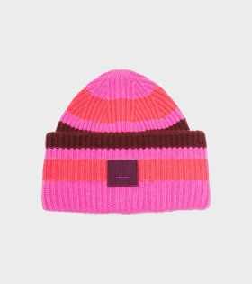 Pansy Pastel Stripe Face Beanie Pink