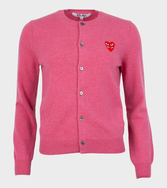 Comme des Garcons PLAY - W Double Heart Cardigan Pink