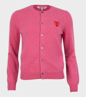 W Double Heart Cardigan Pink