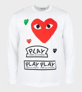 M Mixed Hearts LS T-shirt White