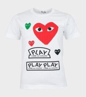 W Mixed Hearts T-shirt White