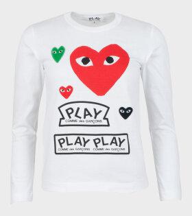 W Mixed Hearts LS T-shirt White