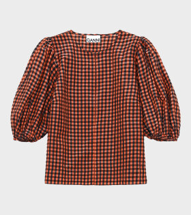 Ganni - Seersucker Check Shirt Black/Orange