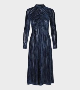 Stine Goya - Asher Velvet Wave Dress Blue