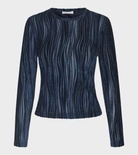 Stine Goya - Maya Velvet Wave Midnight Shirt Blue