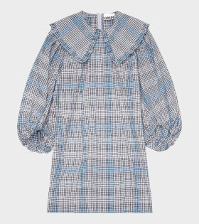 Ganni - Seersucker Check Dress Blue
