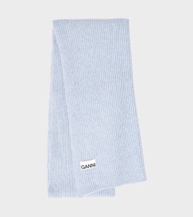 Ganni - Recycled Wool Knit Scarf Blue