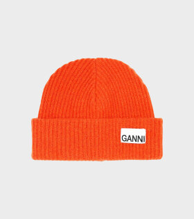 Ganni - Recycled Wool Knit Hat Orange