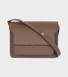 Medium Trunk Saffiano Bag Brown