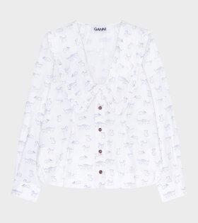 Ganni - Printed V-neck Shirt Bright White