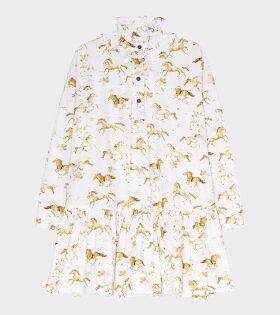 Ganni - Printed Cotton Dress Cognac