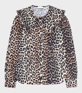 Ganni - Printed Cotton Poplin Shirt Leopard