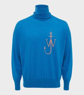 JW Anderson - Anchor Funnel Neck Jumper Blue