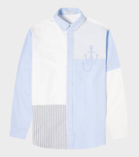 Relaxed Patchwork Shirt Light Blue