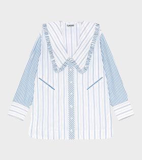 Ganni - Stripe Cotton Collar Shirt White