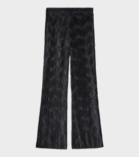 Ganni - Pleated Satin Pants Black