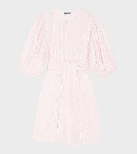 Ganni - Pleated Satin Dress Pale Pink