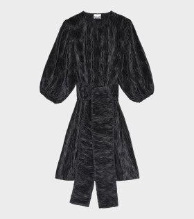 Ganni - Pleated Satin Dress Black