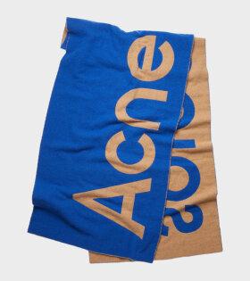 Jacquard Logo Scarf Blue/Beige