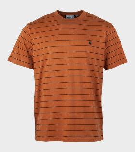 S/S Denton T-shirt Stripe Brown