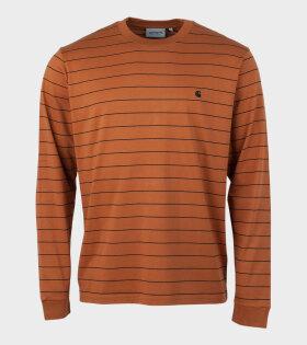 L/S Denton T-shirt Stripe Brown