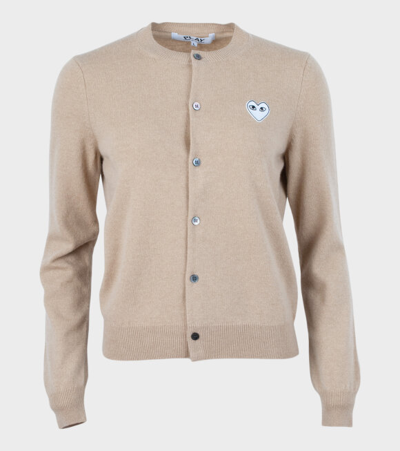 Comme des Garcons PLAY - W White Heart Cardigan Beige