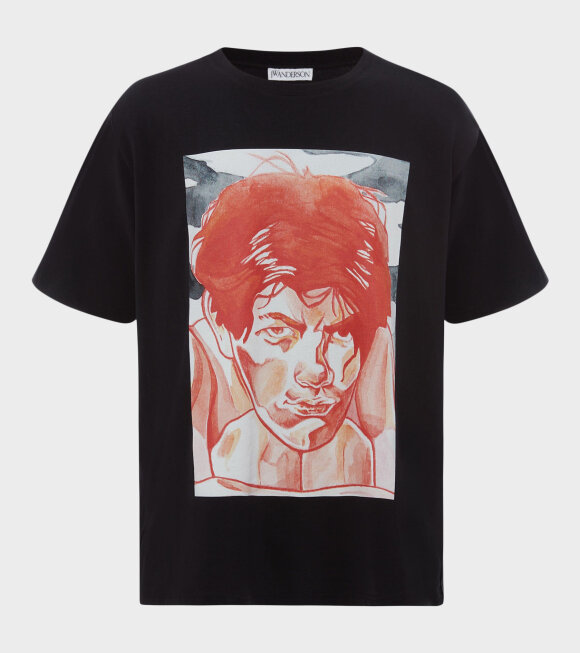 JW Anderson - Oversized Printed Face T-shirt Black