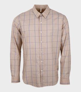 Dan Shirt Checked Beige/Blue