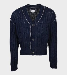 V-neck Knit Cardigan Navy
