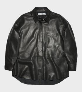 Leather Overshirt Black