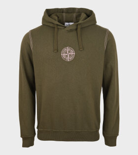 Stone Island - Embroidered Compas Hoodie Green