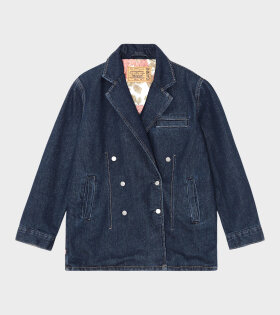 Ganni - Double-Breasted Denim Blazer Dark Indigo