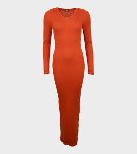 101 Rib Long John Dress Orange