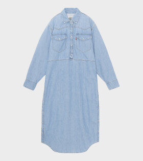 Ganni - Snap Denim Midi Dress Light Indigo