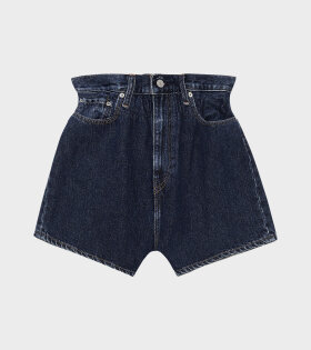 Ganni - High-waist Cinch Denim Shorts Dark Indigo