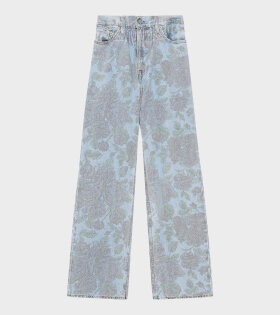 Ganni - Denim Jeans Printed Light Indigo