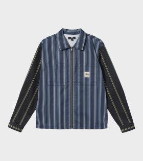 Mix Stripe Zip Up Work Jacket Multi/Blue