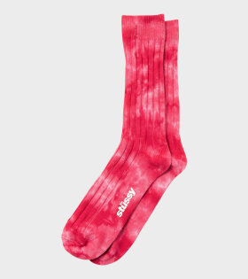 Dyed Ribbed Crew Socks Red/Pink