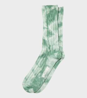 Dyed Ribbed Crew Socks Green