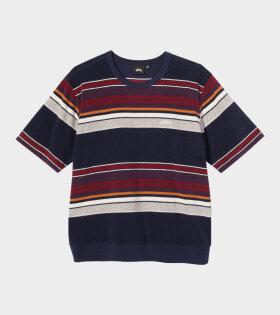 Stüssy - Hudson Stripe Crew T-shirt Navy