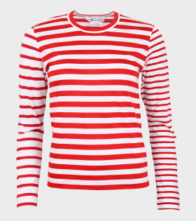 Ladies Striped Blouse Red