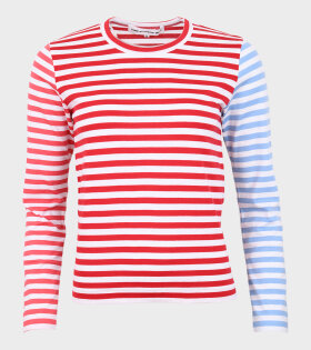 Ladies Striped Blouse Red/Blue/Pink