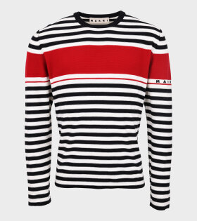 Striped Logo Knit Black/Red/Off-White