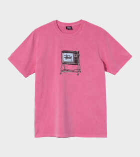 Stüssy - Rolling Tv Pig. Dyed Tee Pink