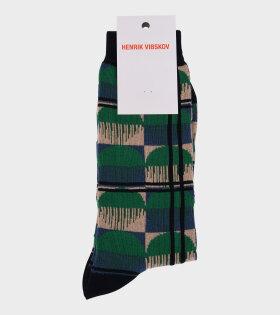 Optical Socks Beige/Blue/Green