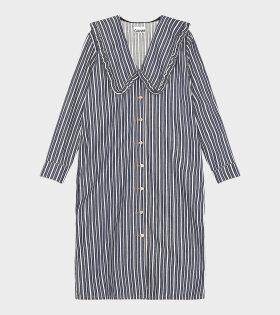 Ganni - Mixed Striped Denim Dress Dark Indigo