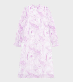 Ganni - Plaeted Georgette Dress Orchid Bloom