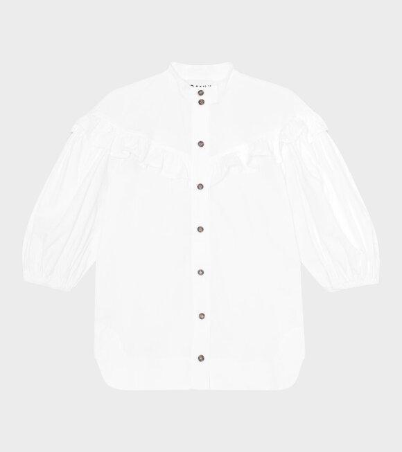 Ganni - Ruffled Drop Shoulder Shirt White