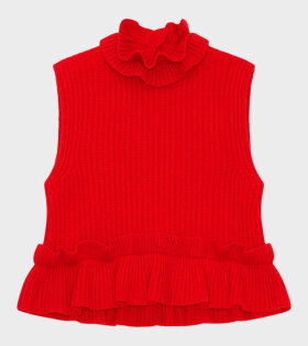 Ganni - Recycled Wool Knit Vest Red