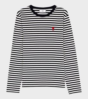 AMI - Ami de Coeur L/S T-shirt Navy/White